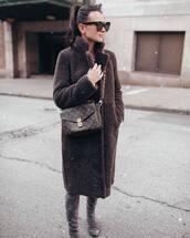 shoes,over knee boots,faux fur,louis vuitton bag,black sunglasses