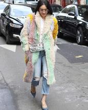 bag,transparent  bag,coat,fur coat,eva chen,chanel bag,clear,transparent,multicolor,pastel,jeans,denim,blue jeans,streetstyle