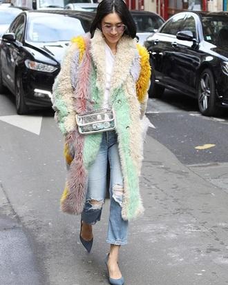 bag transparent  bag coat fur coat eva chen chanel bag clear transparent multicolor pastel jeans denim blue jeans streetstyle
