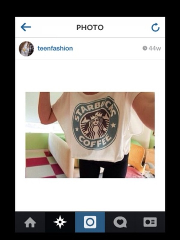 t-shirt starbucks coffee white