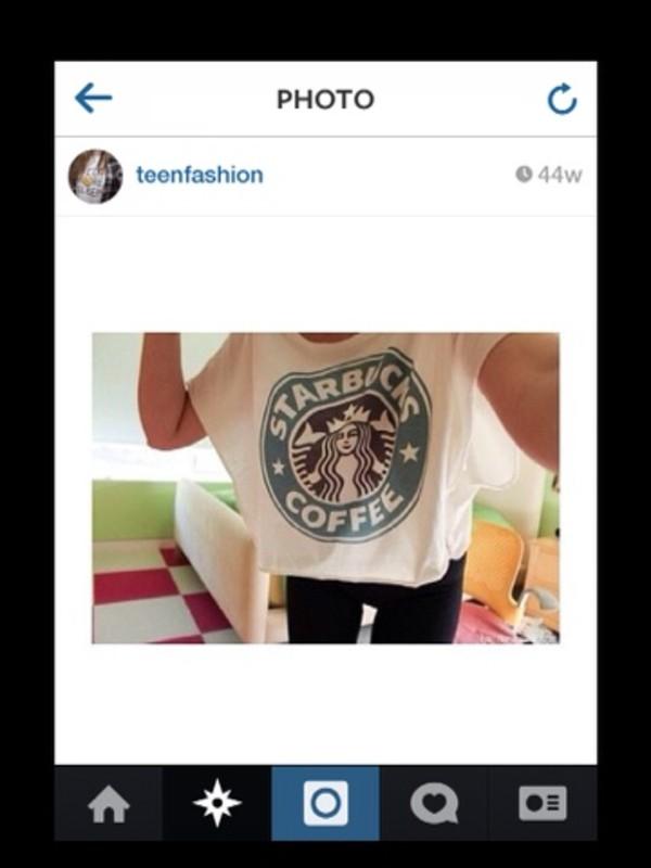 t-shirt starbucks coffee white