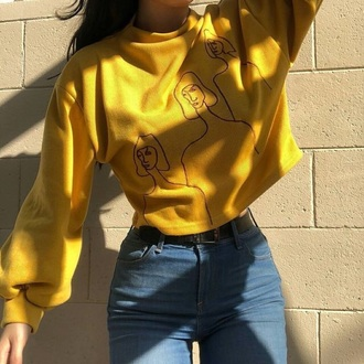 sweater yellow sweater sweatshirt yellow crop tops cropped sweater cropped grunge aesthetic korean fashion