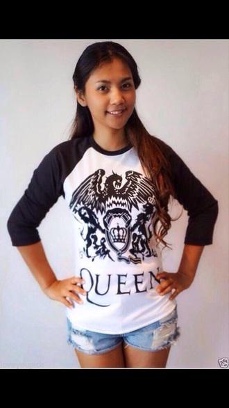 shirt t-shirt top queen shirt the queen queen tee-shirt