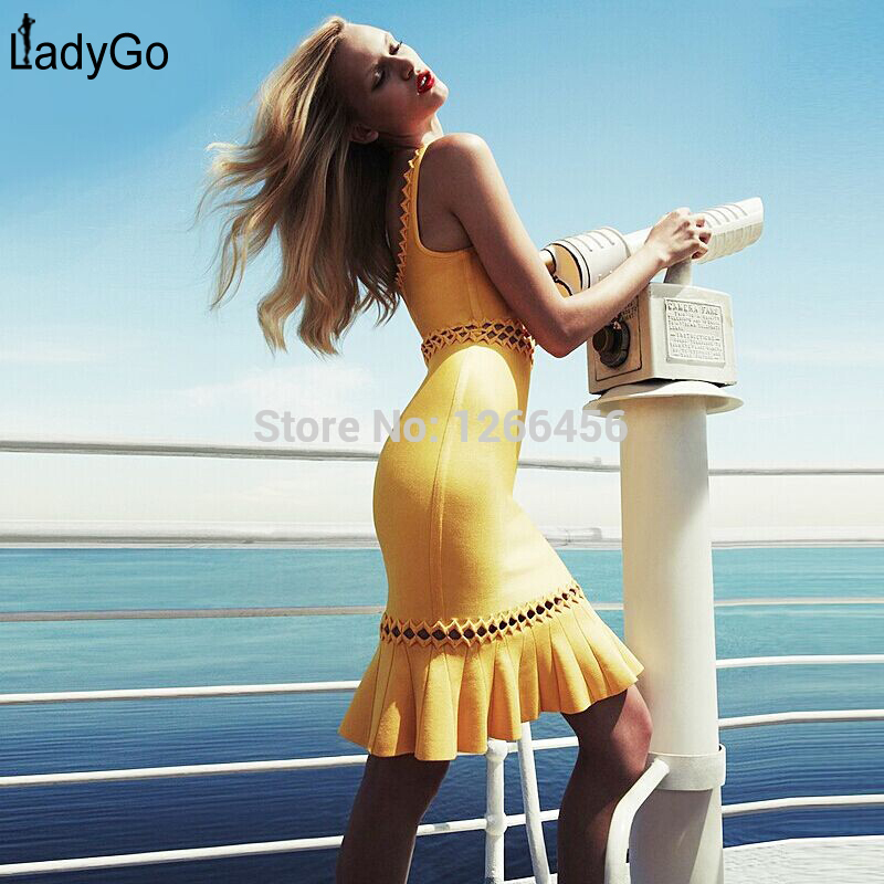 Aliexpress.com : Buy LADY GO Hot Autumn 2014 Yellow Lace Neckline Celebrity High Waist Hollow Plus Size XL Sweet HL Bandage Dress H556 from Reliable dress up cute boys suppliers on Lady Go Fashion Shop