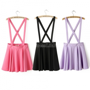 Women's Fashion Candy Color Braces Short Suspender Skirt 3 Colors 2 Sizes