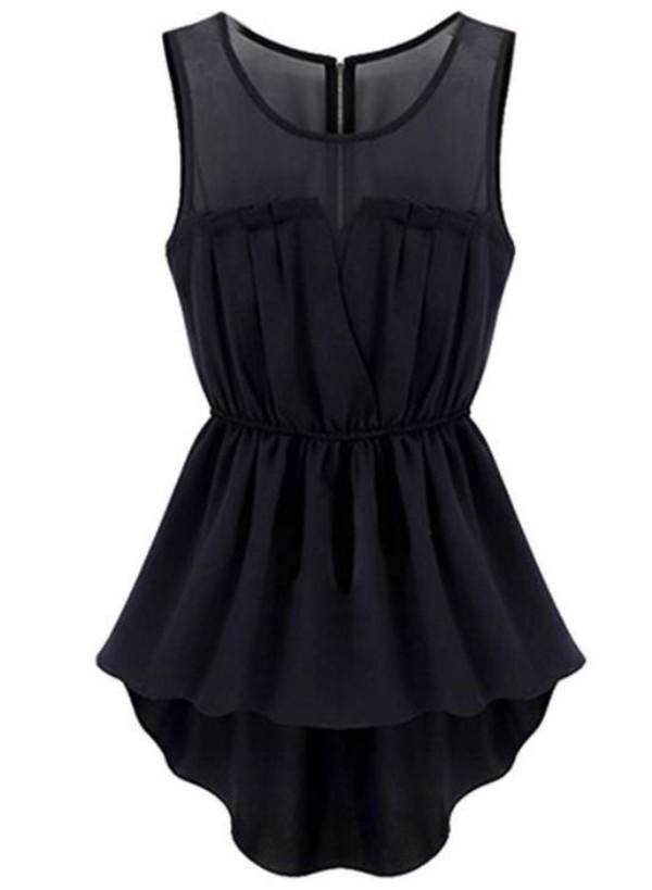 black dress little black dress black mesh neckline high low dress elastic waist dress asymmetrical dress www.ustrendy.com