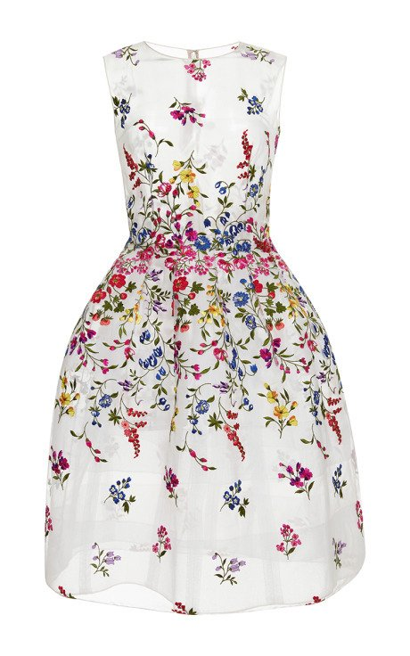Sheer embroidered dress by oscar de la renta