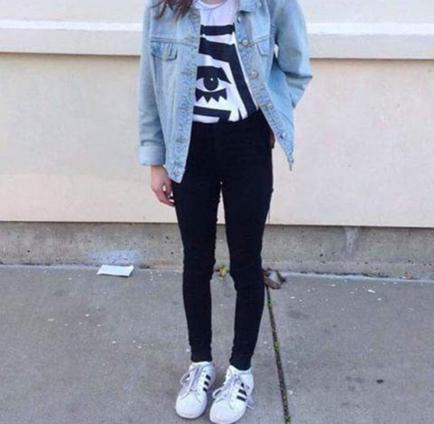 jacket grunge jean jacket edgy jeans edgy top pants t-shirt