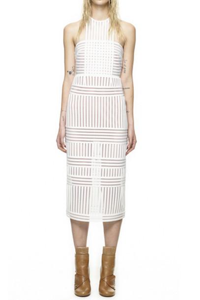 Dress Self Portrait Striped Mesh Column Dress Wheretoget