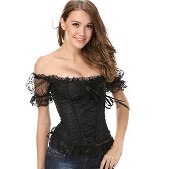 top corset top corset sexy black chic