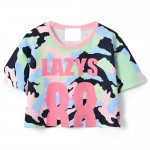Contrast Color Camouflage Printing T-shirt