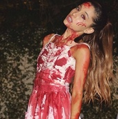 ariana grande,halloween,ariana grande dress,blood,scary,vampire,halloween costume,halloween dress,halloween makeup,dress