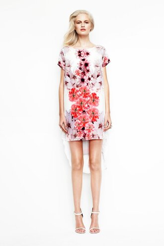 dress summer dress by  house of cannon summer dress floral dress black back white back silk t-shirt dress