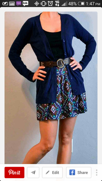 skirt blue pattern skirt dark blue cardigan brown belt