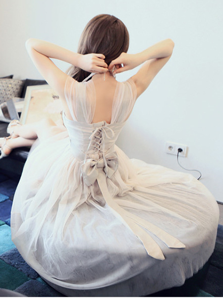 Fantastic Open Back Lace-Up Organza Dress With Bowknot, Pretty Organza Dresses, Summer Dresses 2014 on Luulla