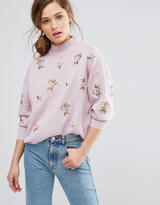 New Look Embroidered Jumper at asos.com