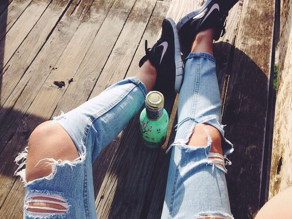 pants ripped jeans faded blue light jeans sandal heels