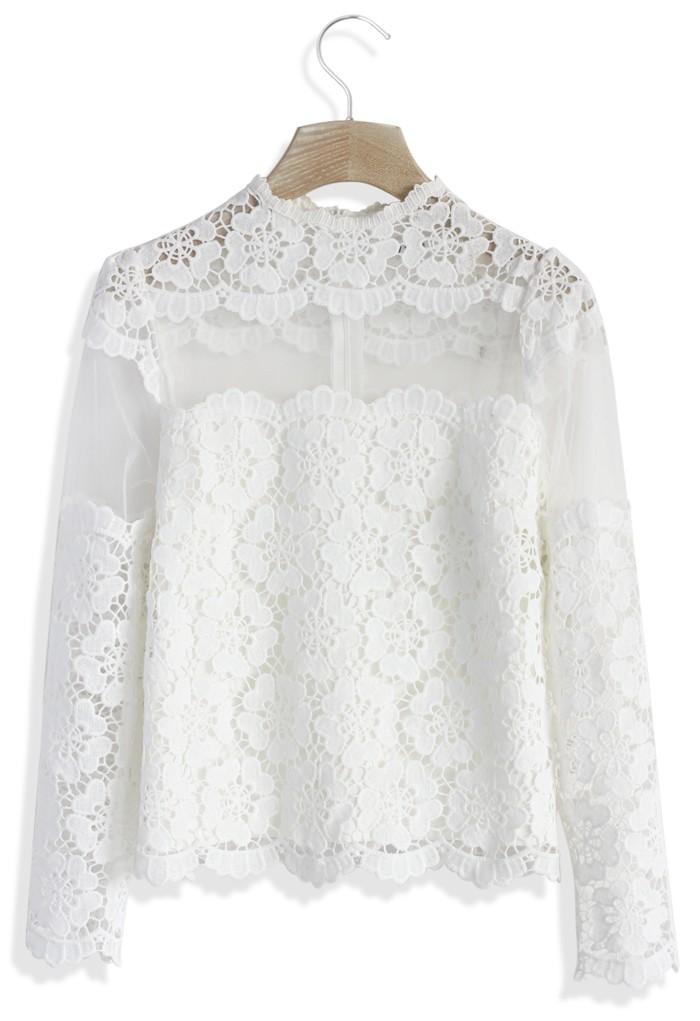 White flower dance mesh crochet top