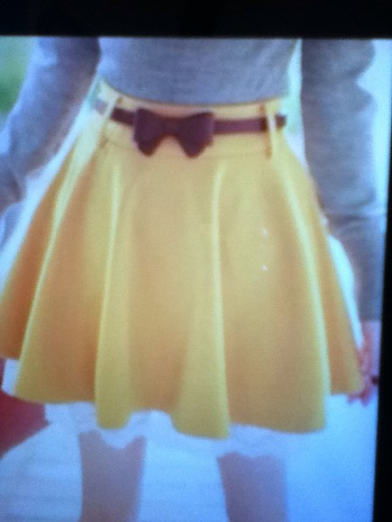 skirt yellow skirt yellow brown bow belt white lace