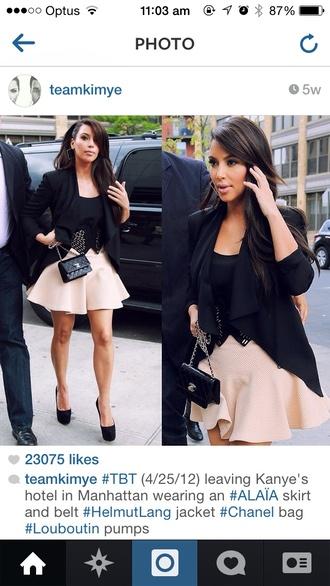 christian louboutin black pumps jewels skirt kim kardashian kim kardashian kayne white bodycon midi dress