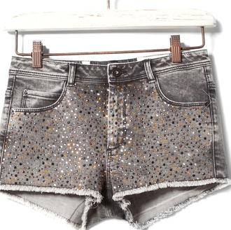 shorts shirt grey glitter jeans