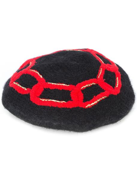 beret black knit hat