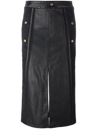 skirt women leather cotton black