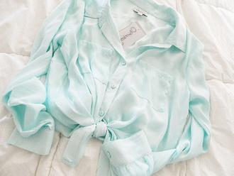 blouse chiffon blue green mint clothes blue shirt shirt bow hipster