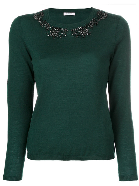 P.A.R.O.S.H. sweater knitted sweater women embellished wool green