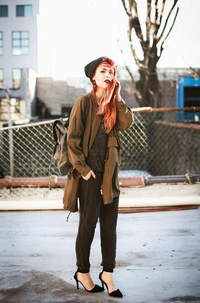 le happy blogger coat black pants sweater shoes