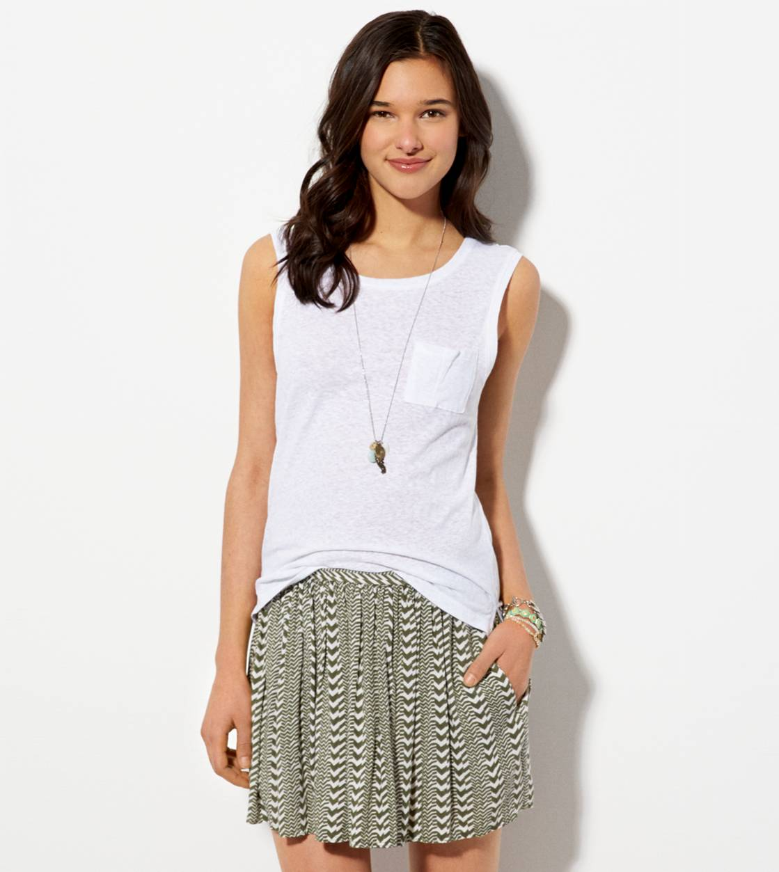 AE Soft Printed Circle Skirt, Green | American Eagle Outfitters