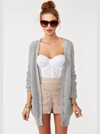 lace corset top bustier shorts white cute nastygal grey cardigan