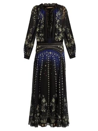 gown pretty print silk blue dress
