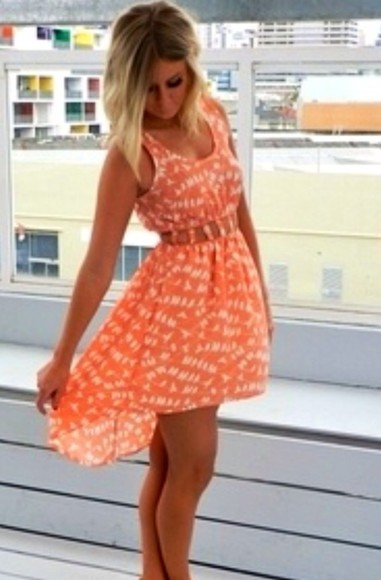 dress orange dress peach dresses peach pattern