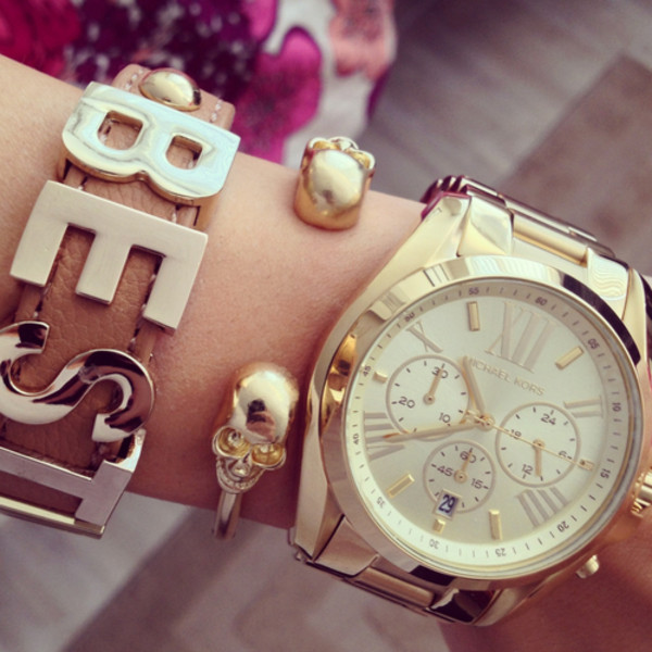 jewels, arm candy, oversized gold watch, michael kors