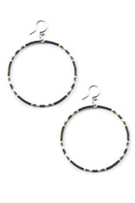 Dark Green Mix Hoop Earrings - Chan Luu