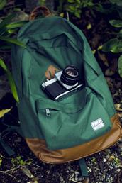 bag,herschel supply co.,green,vintage,backpack