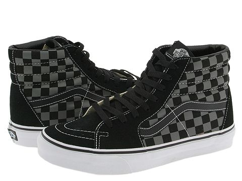 Vans SK8-Hi™ Core Classics (Checkerboard) Black/Pewter - Zappos.com Free Shipping BOTH Ways