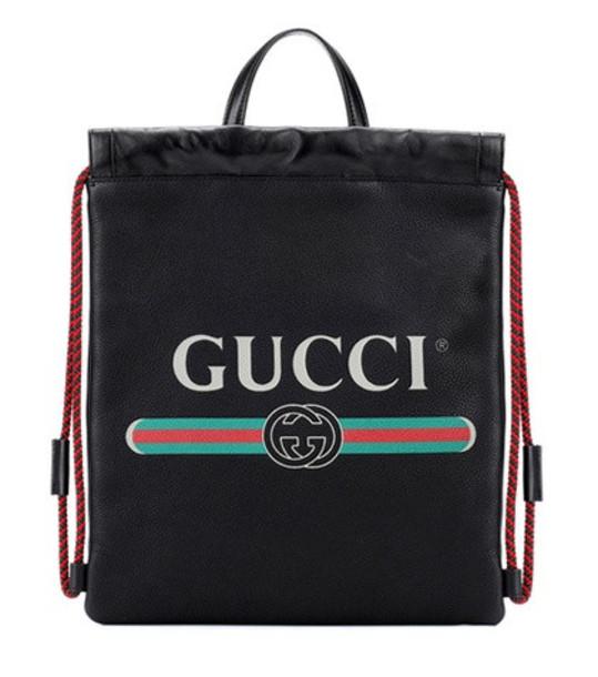 backpack leather backpack leather print black bag