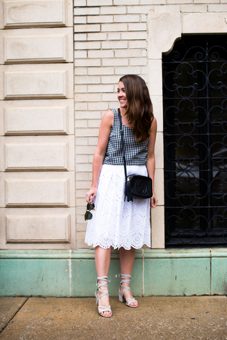 sequins and stripes blogger tank top skirt shoes bag sunglasses jumpsuit eyelet detail eyelet skirt midi skirt white skirt top checkered checkered top sleeveless top black bag gucci bag gucci crossbody bag sandals mid heel sandals blue sandals
