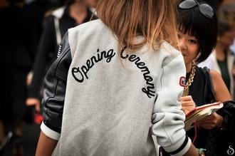 jacket leather jacket opening ceremony hoodie leather grey grey jacket opening ceremony jacket