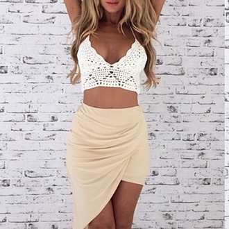skirt summer outfits summer skirt top shirt white crochet