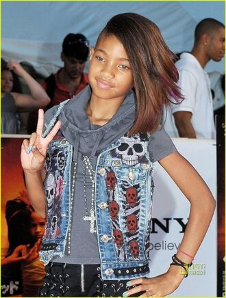 jacket willow smith denim denim jacket skull punk