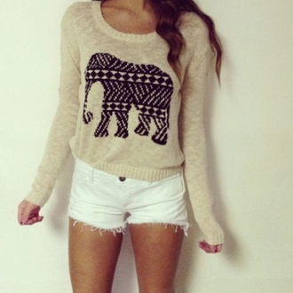 shorts t-shirt blouse top jumper sweater cute cool elephant design off-white black and white comfy fashion fuzzy sweater warm knit shirt white beige indie pullover winter sweater cozy sweater