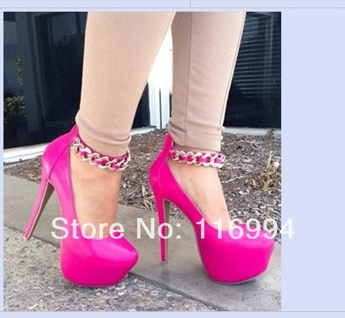 2014new fashion women's pink leather high heels  sexy chains shoes  big size 35  43-in Pumps from Shoes on Aliexpress.com