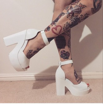 shoes tumblr pumps grooves wedges tattoo thick high heels white ankle strap heels open toes thick heel chunky heels