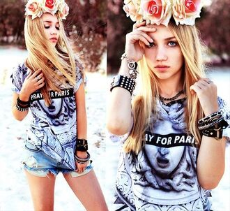 shorts aksinya air pray for paris t-shirt top bracelets flower crown zara shirt jewels hat ukraine
