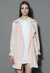 coat,inspirational waterfall trench coat in pink,chicwish,beige coat,chicwish.com