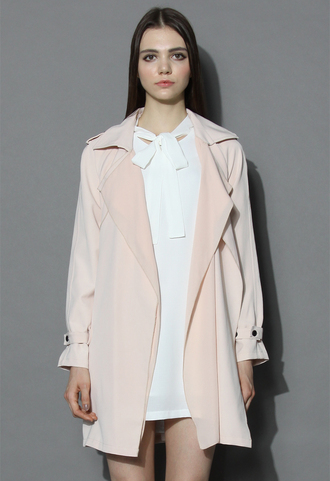 coat inspirational waterfall trench coat in pink chicwish beige coat chicwish.com