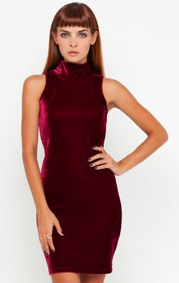 Motel Zabby Burgundy Velvet Turtleneck Dress - Motel Clothes